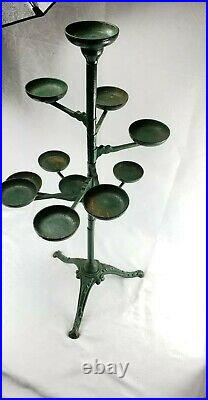 Rare 12 Holder Antique Victorian Cast Iron Swing Arm Plant Stand (most Only 10)