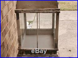 Rare antique Victorian metal Terrarium glass display case plant stand