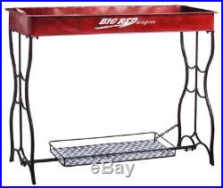 Red Wagon Potting Table Outdoor Decor Metal Plant Stand