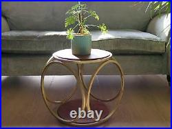 Retro Side Sofa End Table Wooden Metal Round Furniture Vintage Lamp Plant Stand