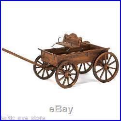 Rustic Country Wooden Wagon Planter WEDDING CART Rolls Yard Garden Decor Antique
