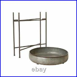 Rustic Farmhouse Galvanized Metal Planter Stand Round Table Serving Tray Bowl