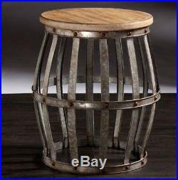 Rustic Industrial Style Metal Drum Table Accent Furniture Small Side Plant Stand