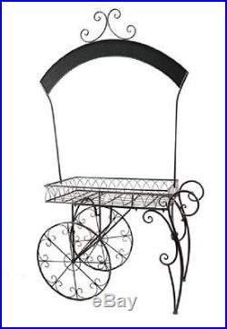 Rustic Kitchen Rack Cart Antique Style Metal Wine Storage Patio Planter Holder