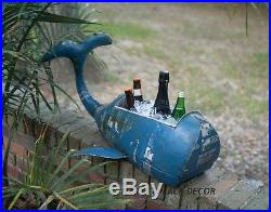 Rustic Reclaimed Metal Whale Cooler Or Planter Beverage Ice Tub Coastal 30