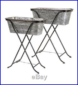 Set /2 Galvanized Metal Bucket Plant Stands Planters With Iron Stand, 22-26''H
