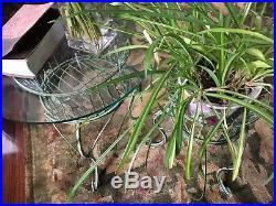 Set/2 Green Verdigris Wrought Iron metal garden Basket Plant stands/ Table bases