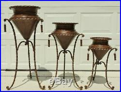 Set 3 Large 25-40 Graduating Ornate Metal Rope Twist Planters on Pedestal Stand
