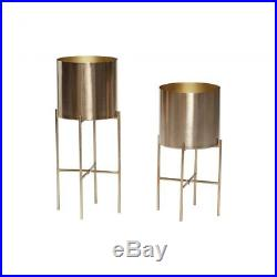 Set Of 2 Metal Brass Pot Plant on Stand by Hubsch