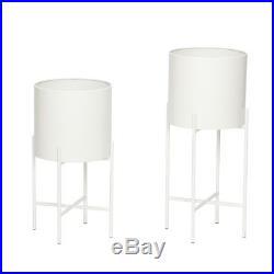 Set Of 2 Metal White Pot Plant on Stand by Hubsch