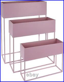 Set Of 3 Indoor Plant Pot On a Stand Pink Metal Tall Rectangle Tiered Planter