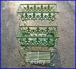 Set of 2 Victorian Plant Stands Wrought Iron Antiqued Mint Finish