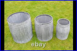 Set of 3 Galvanised Victorian Style Garden Dolly Tubs Planters Pots Autumn Plant