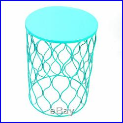 Set of 3 Home Garden Table Circle Wired Round Iron Metal Stool Plant Stand Blue