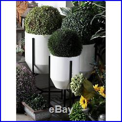 Set of 3 Large Iron Garden Flower Planters Pot Round With Stand White Modern Plant