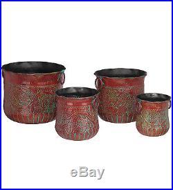 Set of 4 Metal/Iron Handles Red Grapes Planters, Garden Patio Decor, Flower Pots