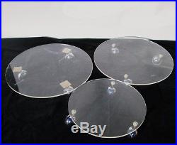 Set of Six Vintage Round Lucite Plant Dolly Stands with Rolling Chrome Casters