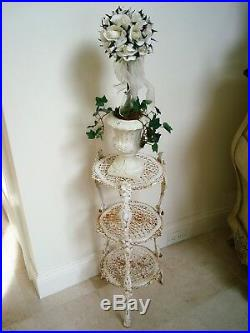 Shabby Rusty Crusty Ornate French Style Metal 3 Tier Plant Stand Awesome
