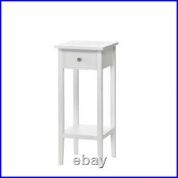 Small Table Bedside Nightstand Drawer White Accent End Side Shelf Plant Stand
