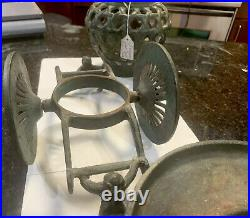 Solid Old Heavy Vintage/Antique STAND Rolling Wheel Cart Cast Iron Metal Planter
