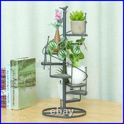 Spiral Desktop Vintage Plant Flower Stand Metal Wood Shelf Indoor Outdoor Garden