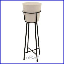 Stand Pot Planter Metal Floor Standing Flower Holder Indoor Outdoor Garden Decor