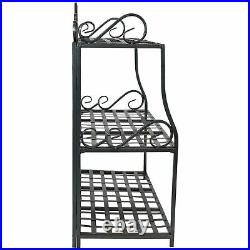 Sunnydaze 3-Tier Plant Stand Iron Metal Shelves with Decorative Scroll Edging