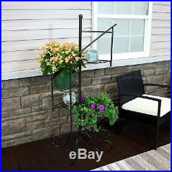 Sunnydaze 4-Tier Flower Plant Stand Metal Spiral Staircase Design 2 PK 56