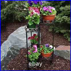 Sunnydaze 6-Tiered Metal Folding Plant Flower Pot Stand 45 Indoor-Outdoor
