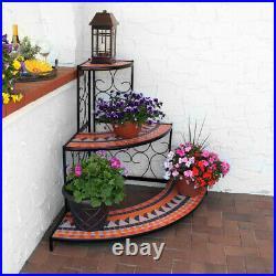 Sunnydaze Large 3-Tier Mosaic Plant Stand Metal Corner Flower Pot Shelf 40