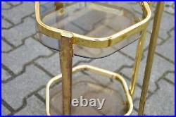 TRUE VINTAGE BLUMENSÄULEN groß & klein Metall gold Glas 80s PLANT STANDS 80er