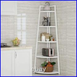Tall 5 Tier Rustic Corner Bookshelf Corner Ladder Shelf Plant Stand 70 2 TYPE
