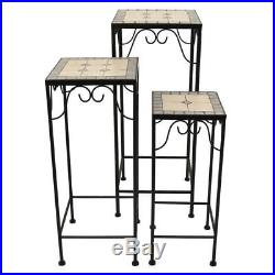 Three Hands Plant Stands Mosaic Multi Colored Black Sturdy Metal Frame 3 Set New