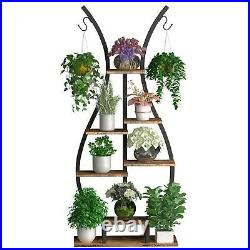 Tiered Plant Stand Modern Curved Display Shelf Bonsai Flower Rack for Garden Pat