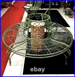 Tree Bench/Plant Stand Wrought Iron Antique Mint Green Finish