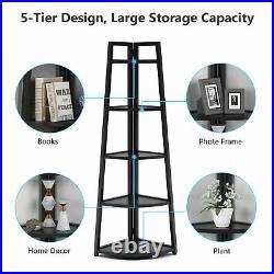 Tribesigns 70inch Tall Corner Shelf 5 Tier Modern Ladder Shelf Plant Stand Black