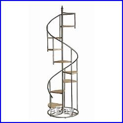 Two Large 76 Wood & Metal Spiral Stairs Staircase Display Shelf Plant Stand