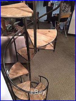 Two New Modern 76 Wood Metal Spiral Stairs Staircase Display Shelf Plant Stand