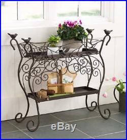 Two-Shelf Cast Iron Plant Stand with Birds, 32 L x 12 W x 30 H