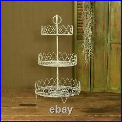 Unique Antique White 3 TIER Metal Plant Display Stand Indoor Tabletop Decor New