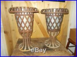 Unique pair 0f Vintage Metal Plant Stands