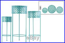 Urban Trends Metal Plant Stand 3 Piece With Blue Finish 27713