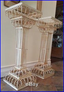 VINTAGE French Garden white METAL PLANT Stand display pedestal urn Greek column