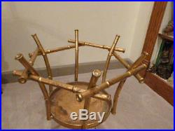 VINTAGE Metal Faux Bamboo Chinese Design Gold Plant Stand Holder 21T