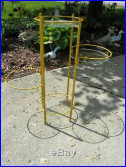 VINTAGE Mid Century Modern Metal 4 Tiered Plant Stand Table, Glass Tops, MCM