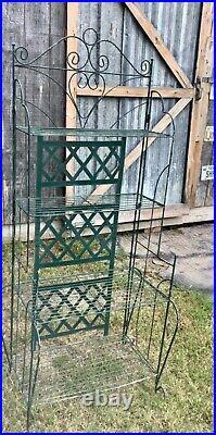 VINTAGE folding plant stand BAKER'S RACK Green Metal shelf Plantstand