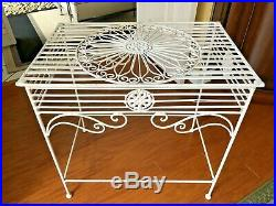 VTG MID CENTURY METAL with FLOWER WHEEL & CURLY QUES DESIGN GARDEN TABLE /PLANT