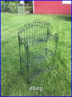 VTG Plant Stand Scallop Detail Solid Iron Heavy Sturdy 46x26x12