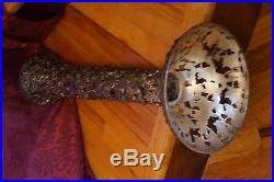 VTG Silver Plate Acorn Metal Sculpture Plant Stand Bowl Pedestal Pierced In/Out