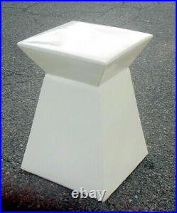 VTG White CERAMIC Garden Stool ACCENT TABLE Plant Stand BOHO CHIC MODERN